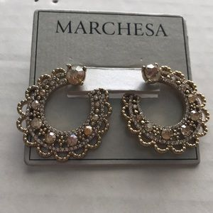 Marchesa Open Hoop Earrings in gold and champagne